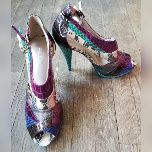 4a170496d8d Aldo Shoes - Aldo Multi Color Snakeskin Print Heels Booties